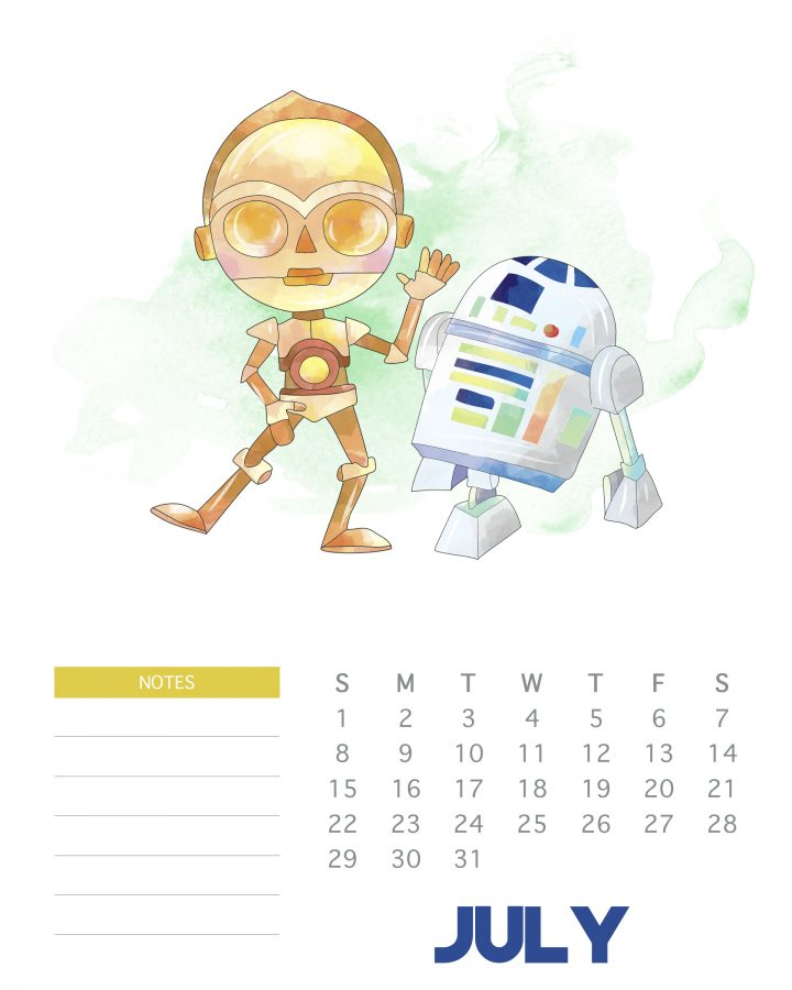 July 2018 - Free Printable Star Wars calendar