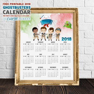 Free Printable 2018 Ghostbusters Calendar