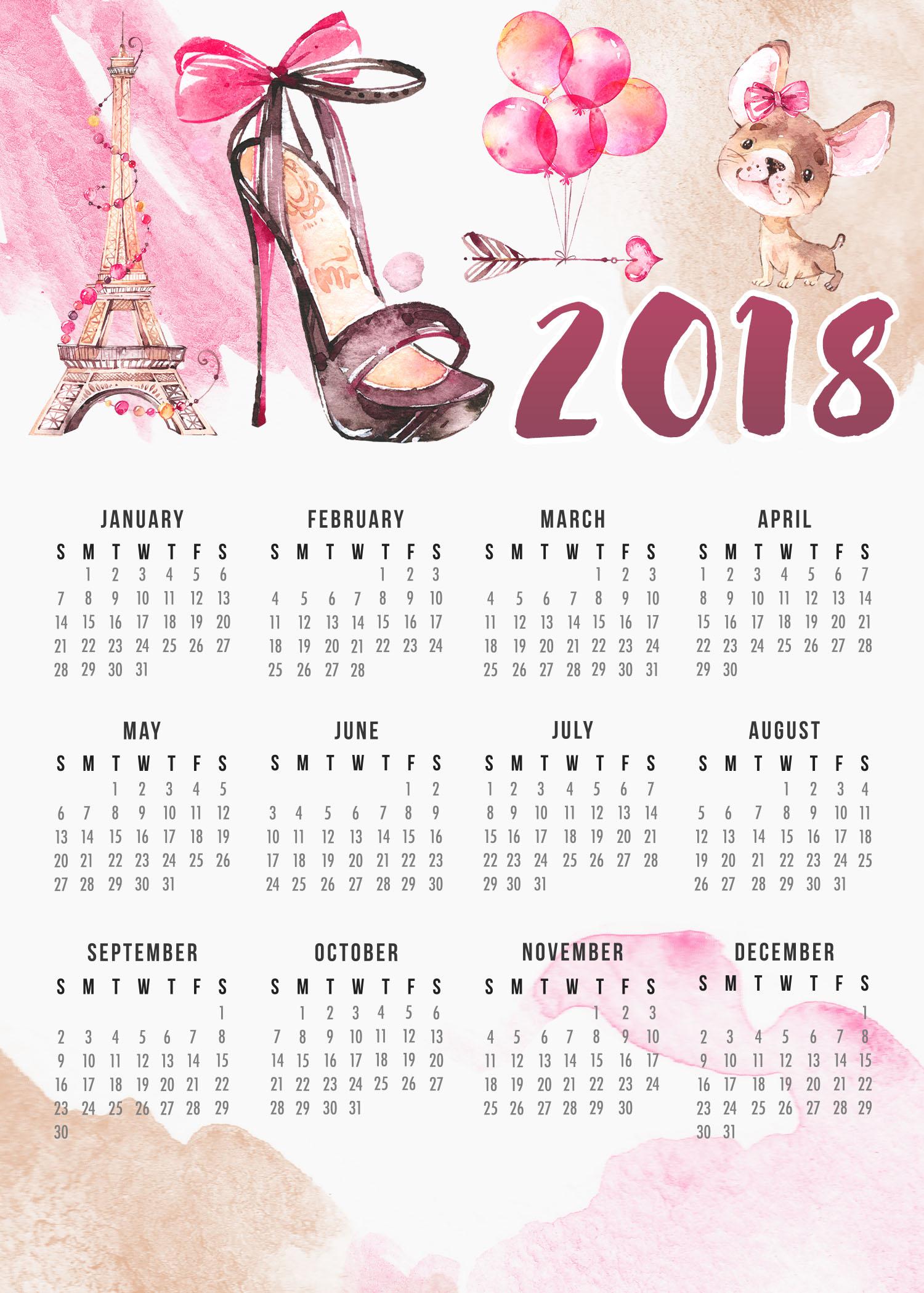 free printable 2018 calendar on one page