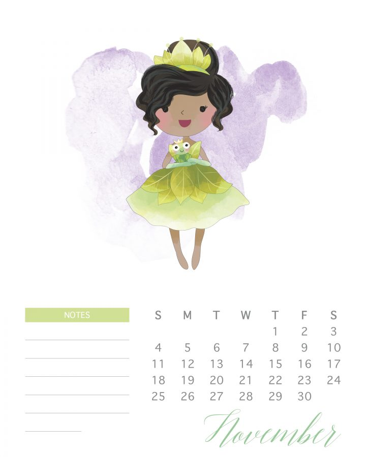 November's princess tiana is gorgeous in green in this free printable watercolor princess calendar