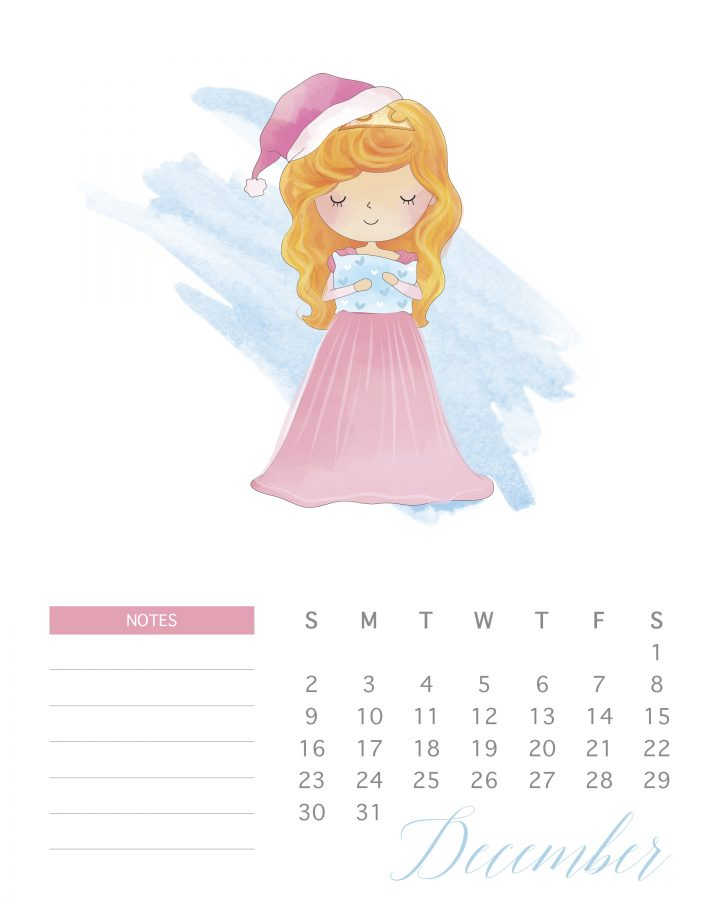 Sleeping Beauty graces the pages of December in this free 2018 watercolor princess calendar