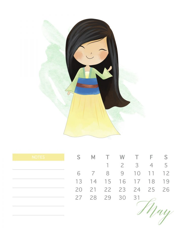 Mulan is the featured princess of this free printable 2018 watercolor princess calendar