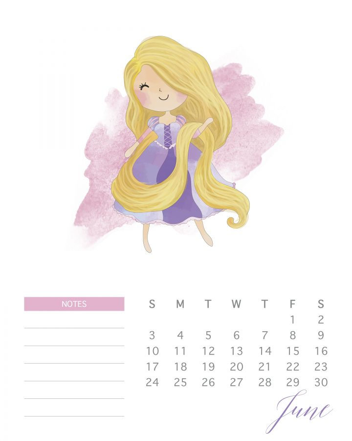 Tangled in golden locks is the theme of June 2018 in this free printable watercolor princess calendar