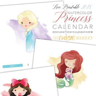 Free Printable 2018 Watercolor Princess Calendar