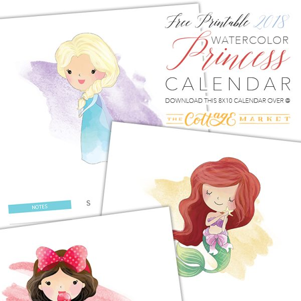 Free Printable 2018 Watercolor Princess Calendar
