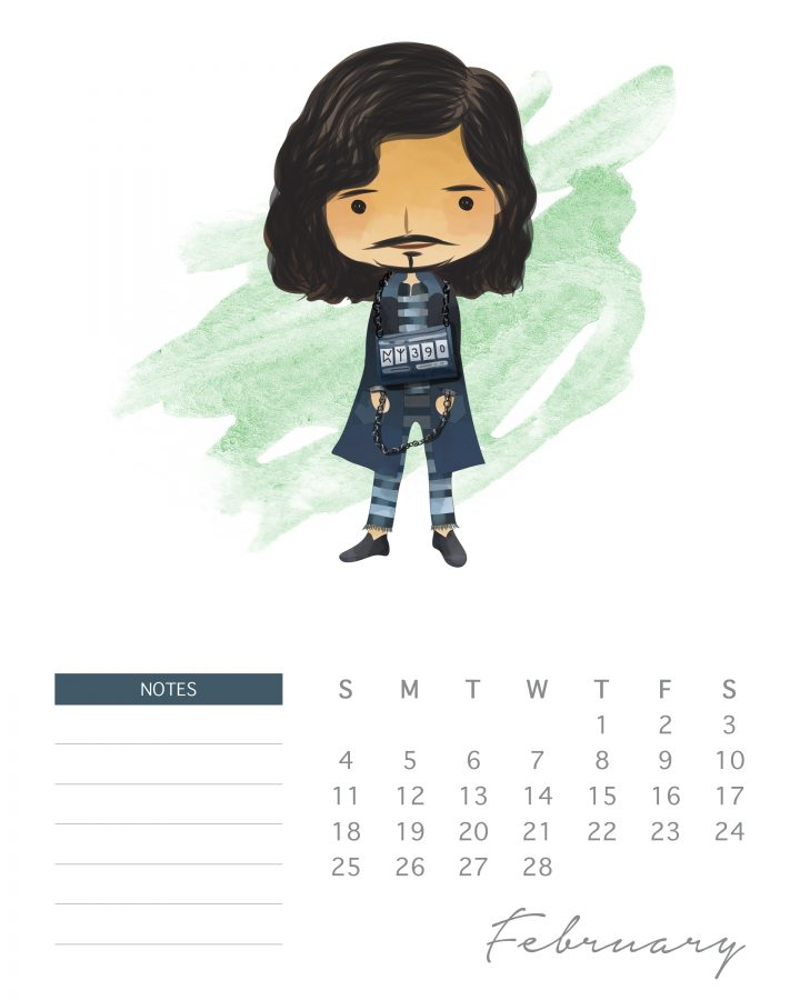 Sirius Black doesn't look so threatening on this page of our Harry potter character calendar