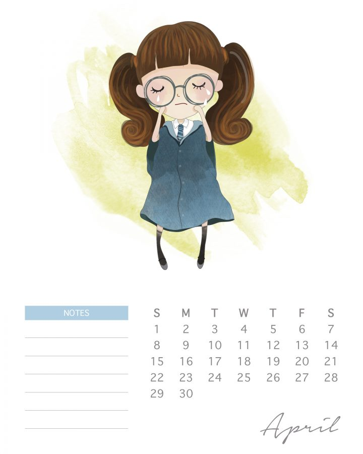 Moaning Myrtle graces the pages of this free Harry potter character calendar