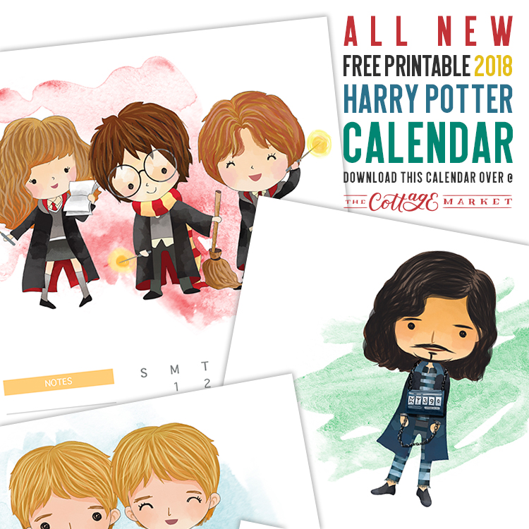 Free 2018 Harry Potter Character Calendar The Cottage Market