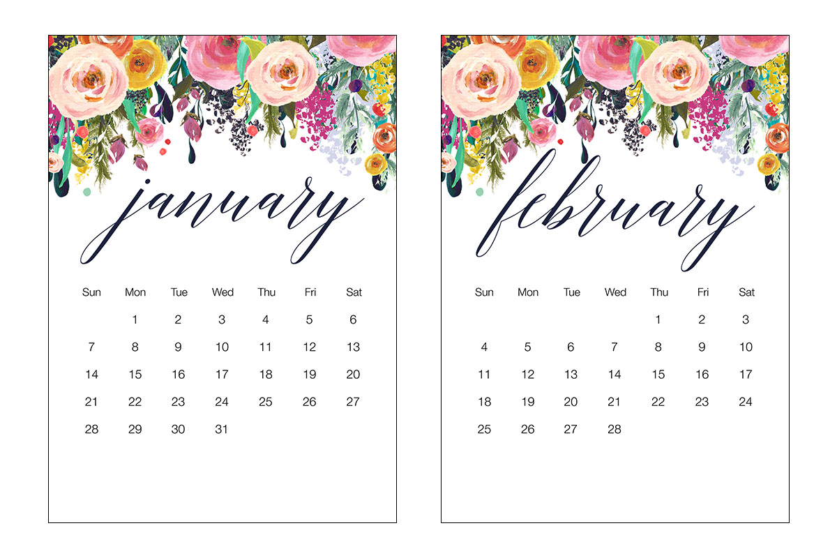 Free Printable 2018 Floral 5x7 Calendar The Cottage Market