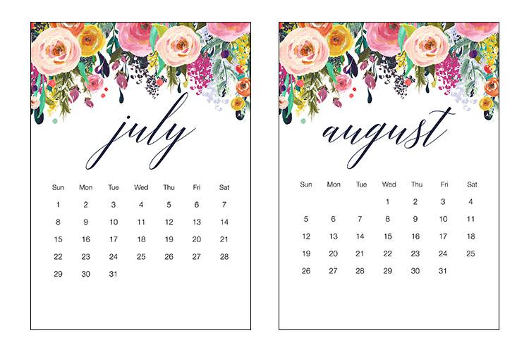 july august 2018 calendar printable