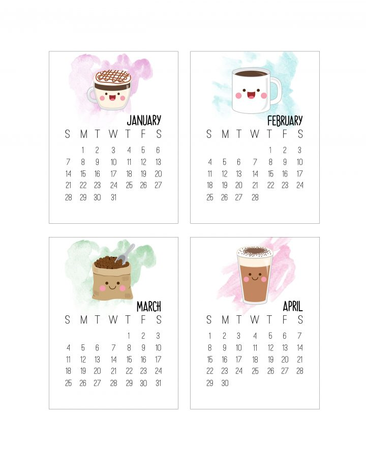 Free Printable 2018 Kawaii Coffee Journal Card Calendar ...