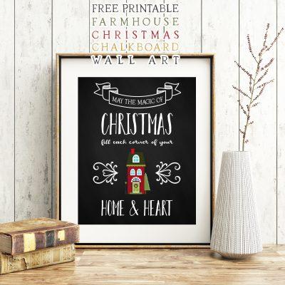 Free Printable Farmhouse Christmas Chalkboard Wall Art
