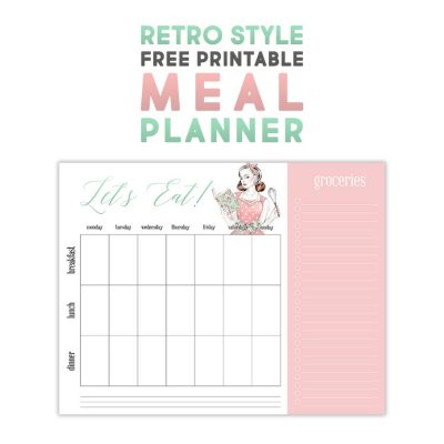 Retro Style Free Printable Meal Planner