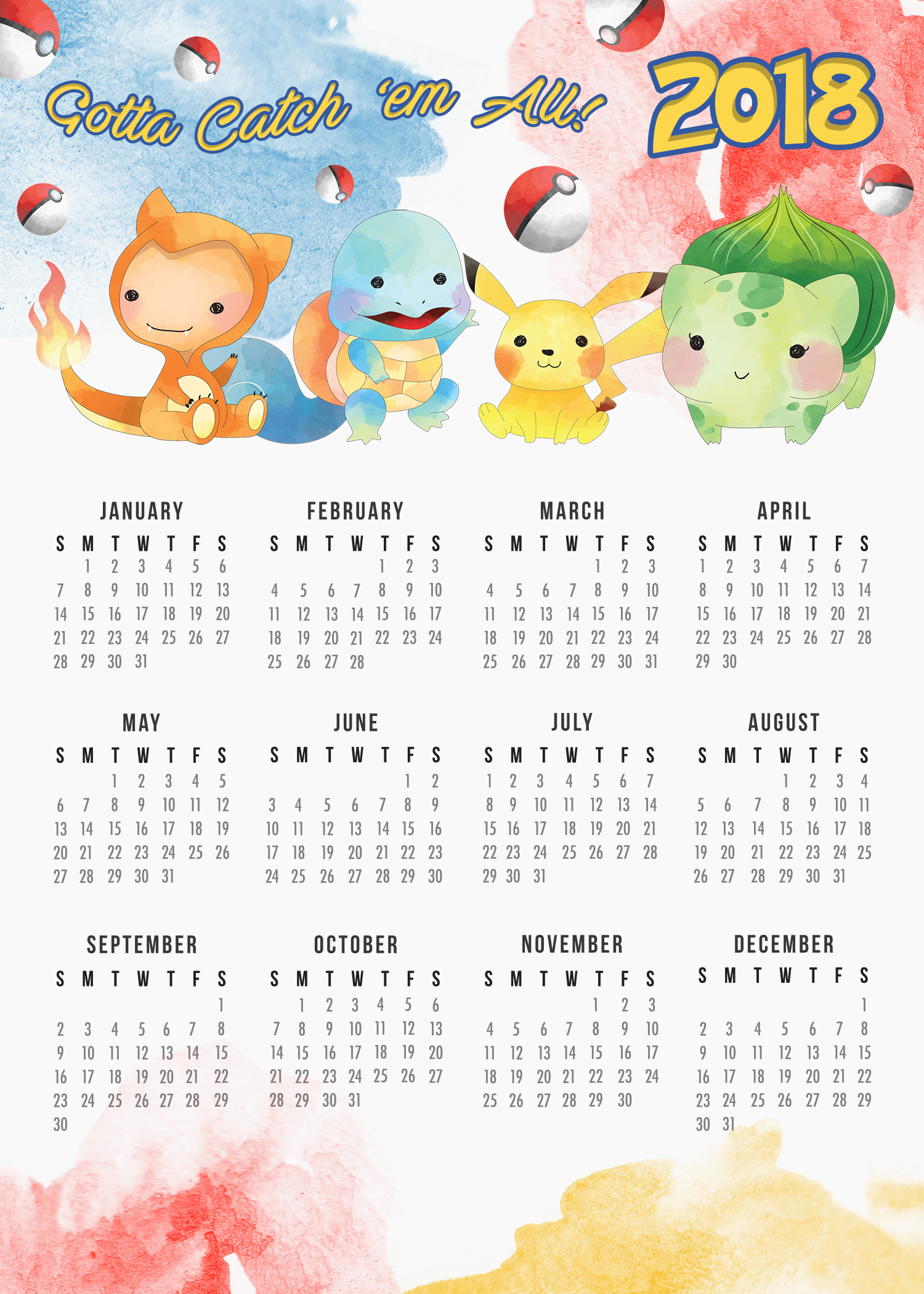 TCM OneSheet 2018 Calendar 5x7 Pokemon   The Cottage Market