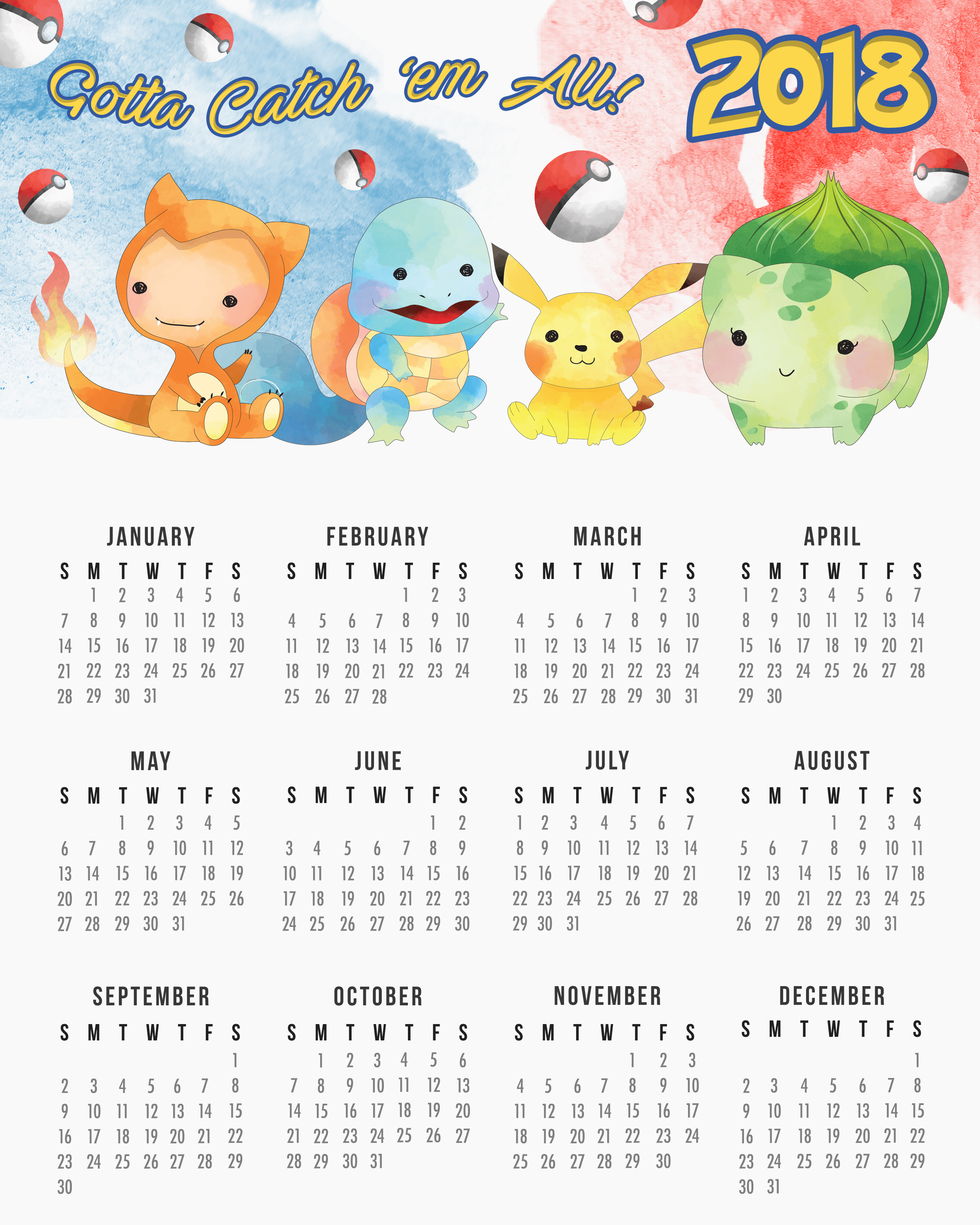 TCM OneSheet 2018 Calendar 8x10 Pokemon   The Cottage Market