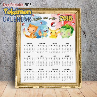 Free Printable 2018 Pokemon Calendar