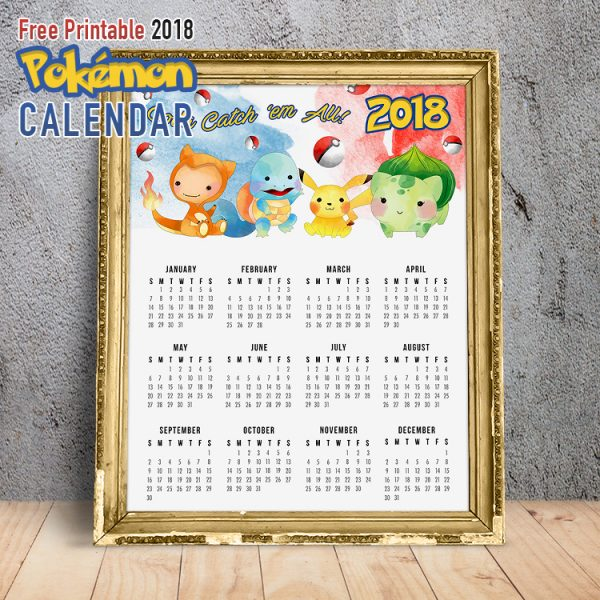 Free Printable 2018 Pokemon Calendar