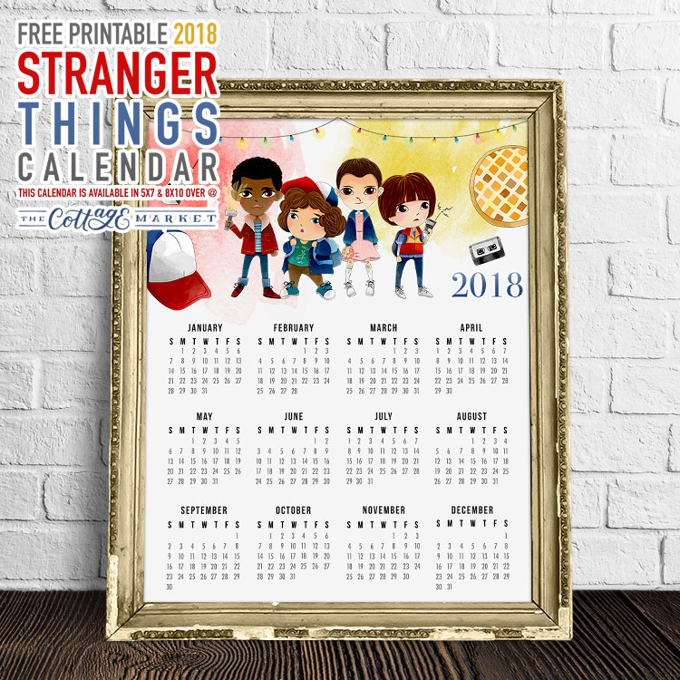 Free Printable One Page Stranger Things Calendar The