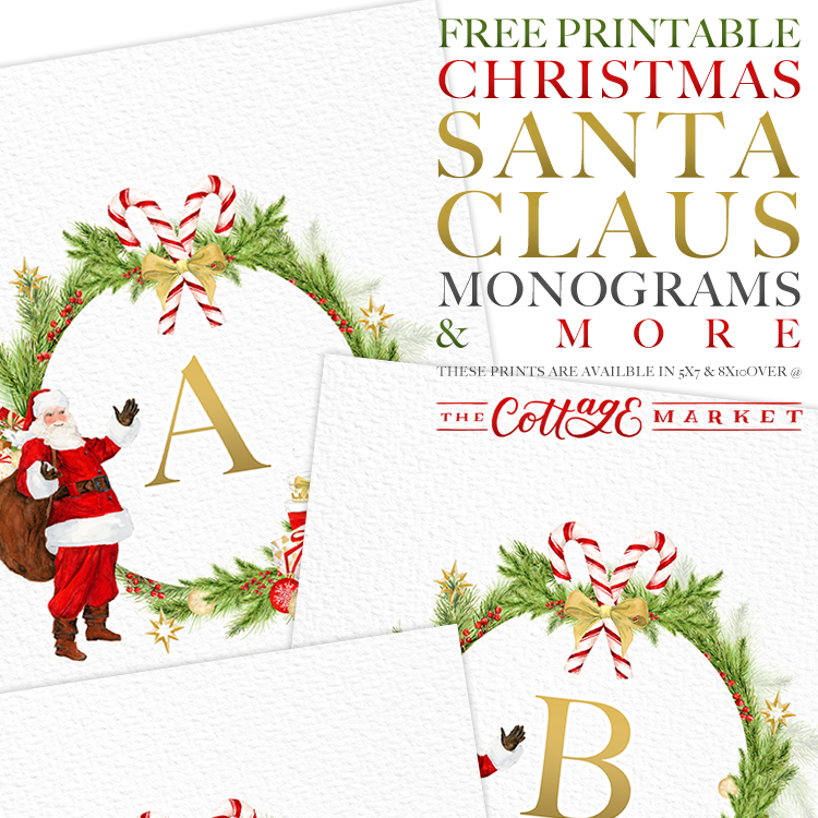 image about Santa Claus Printable named Absolutely free Printable Xmas Santa Claus Monograms and Much more
