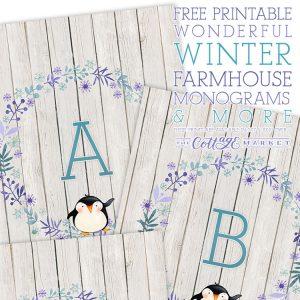 Free Printable Wonderful Winter Farmhouse Monograms