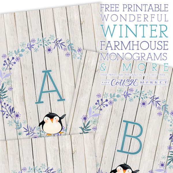 Free Printable Wonderful Winter Farmhouse Monograms