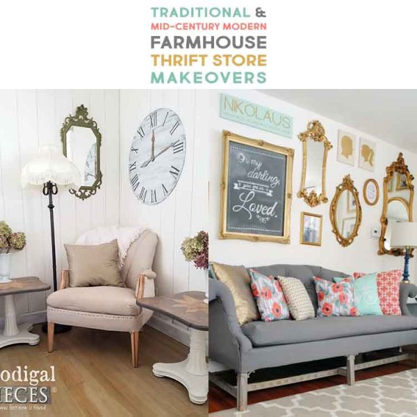 Traditional and Mid-Century Modern Farmhouse Thrift Store Makeovers
