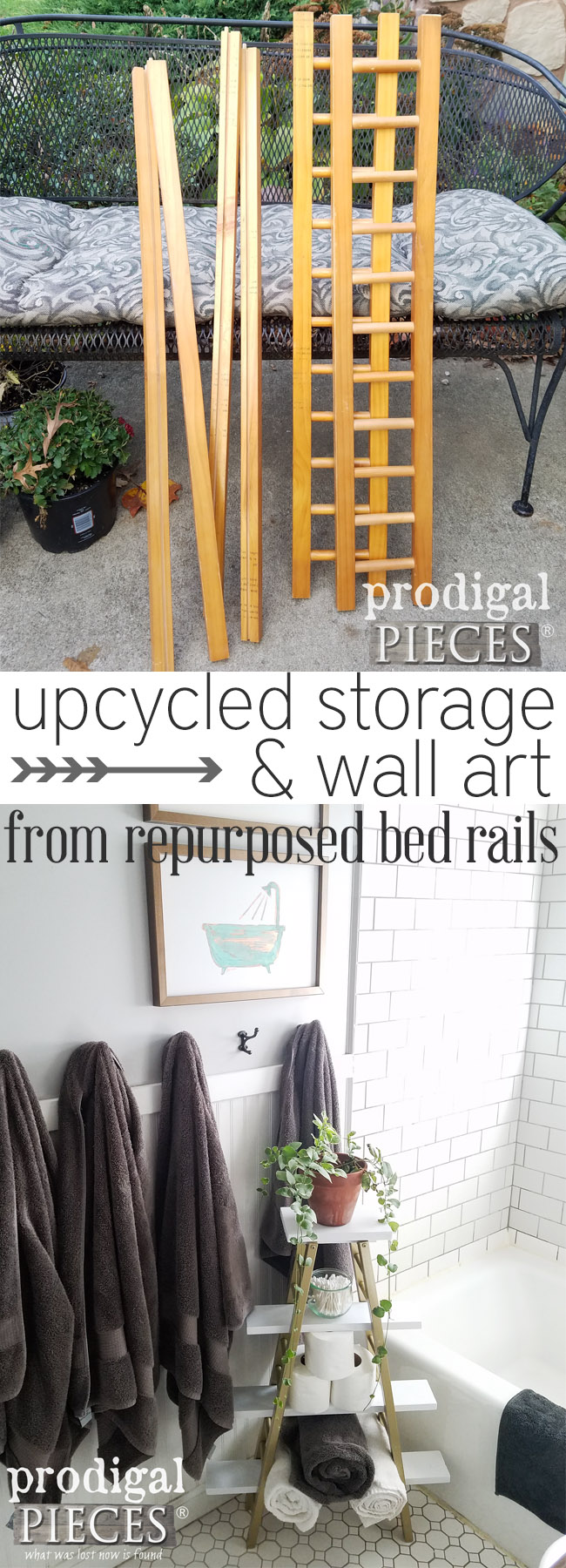 These thrift store bed rails make for great storage pieces and wall art.