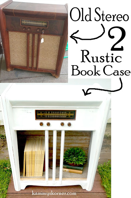 This old thrift store stereo turned rustic book case is quirky and functional.