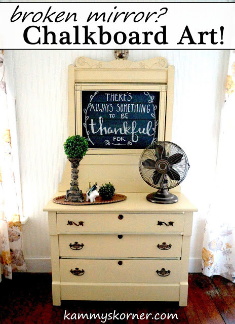 This thrift store dresser with a chalkboard addition is fun and rustic.