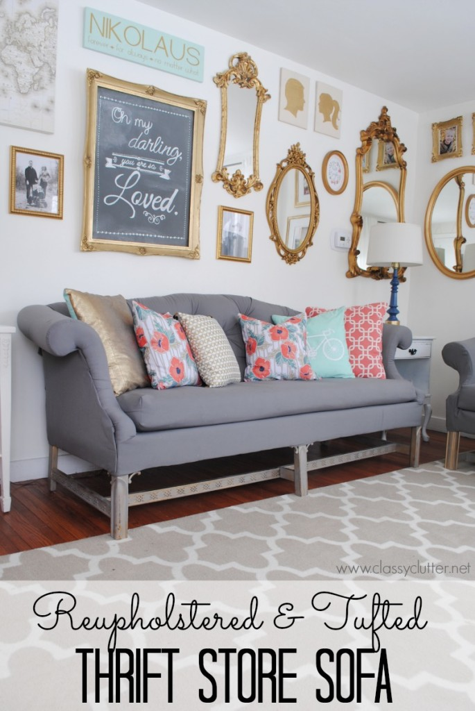This thrift store sofa refurbished and tufted is classy and modern.