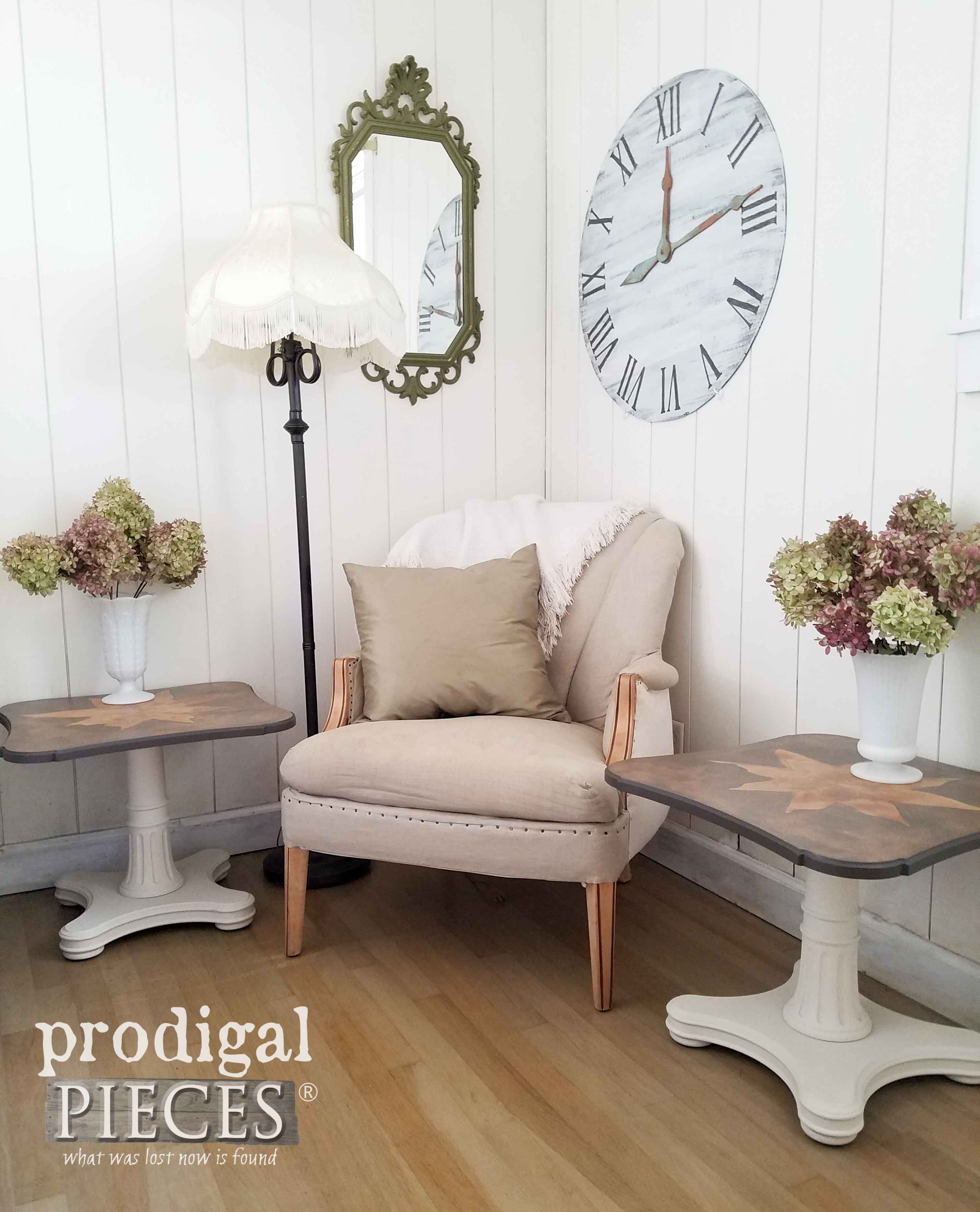 These refurbished thrift store end tables compliment the neutral decor in this space.