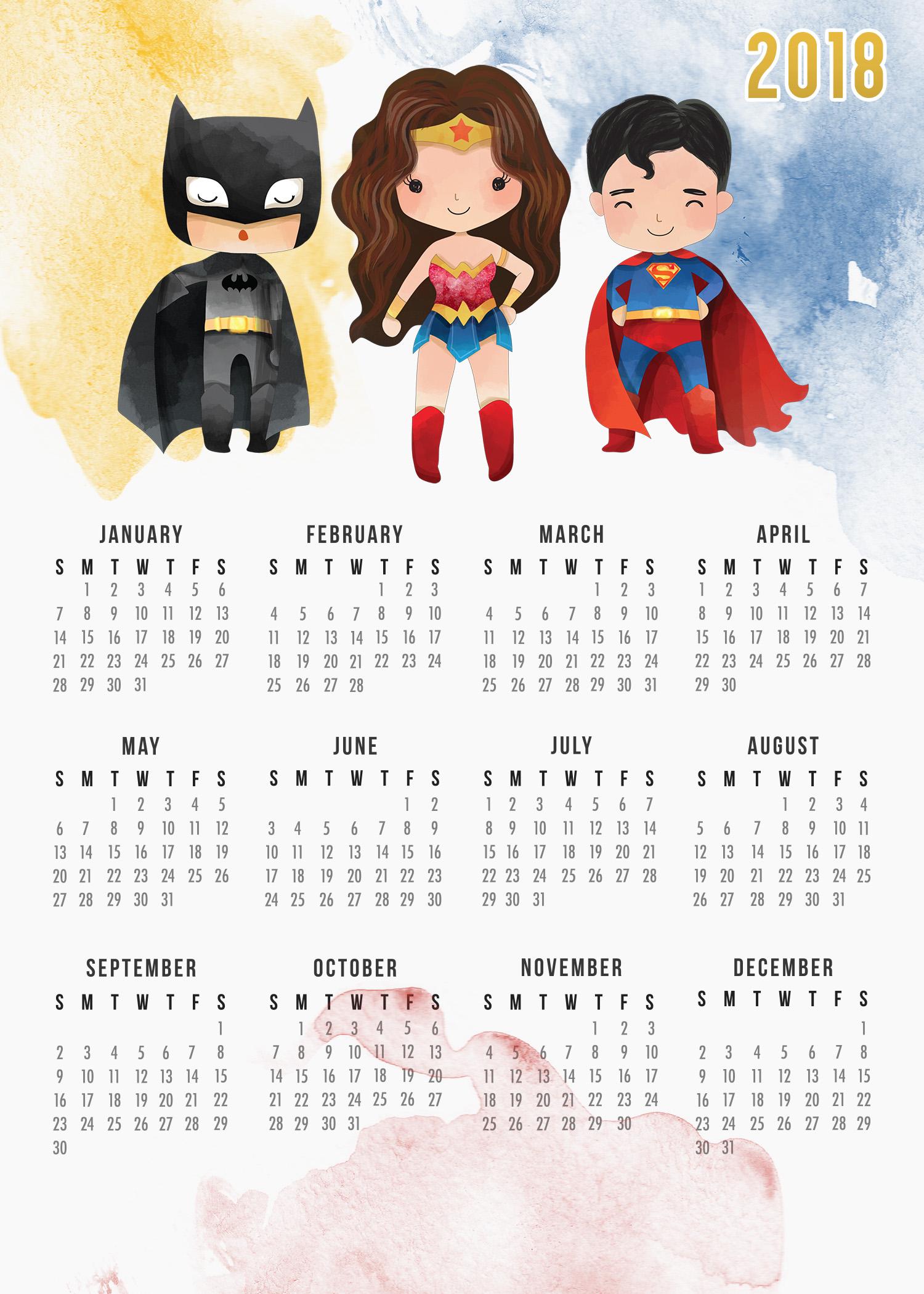 Free Printable 2018 Justice League Calendar - The Cottage ...