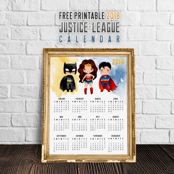 Free Printable 2018 Justice League Calendar