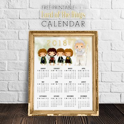 Free Printable 2018 Lord of the Rings Calendar