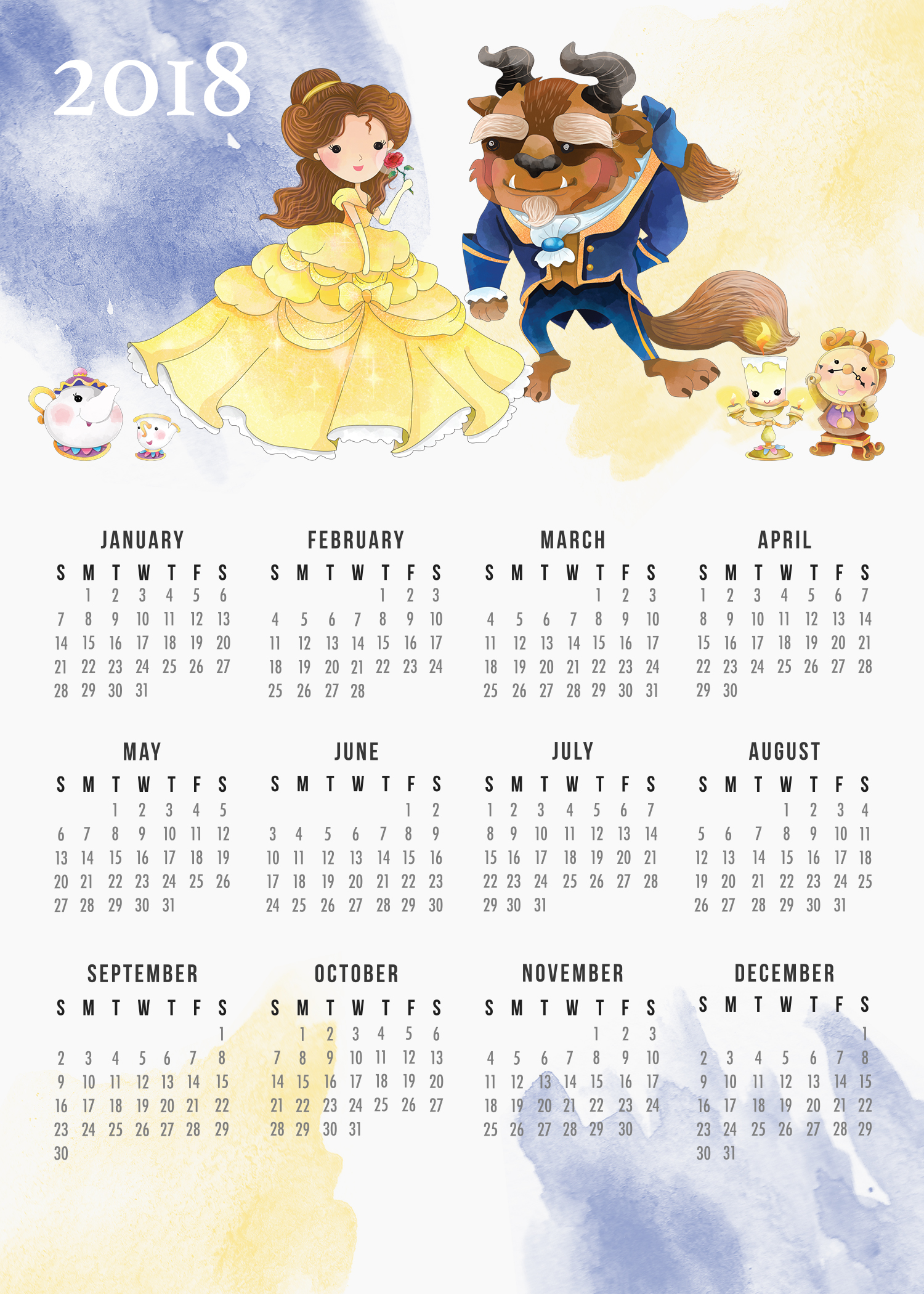 Free Printable 2018 Beauty and the Beast Calendar - The Cottage Market