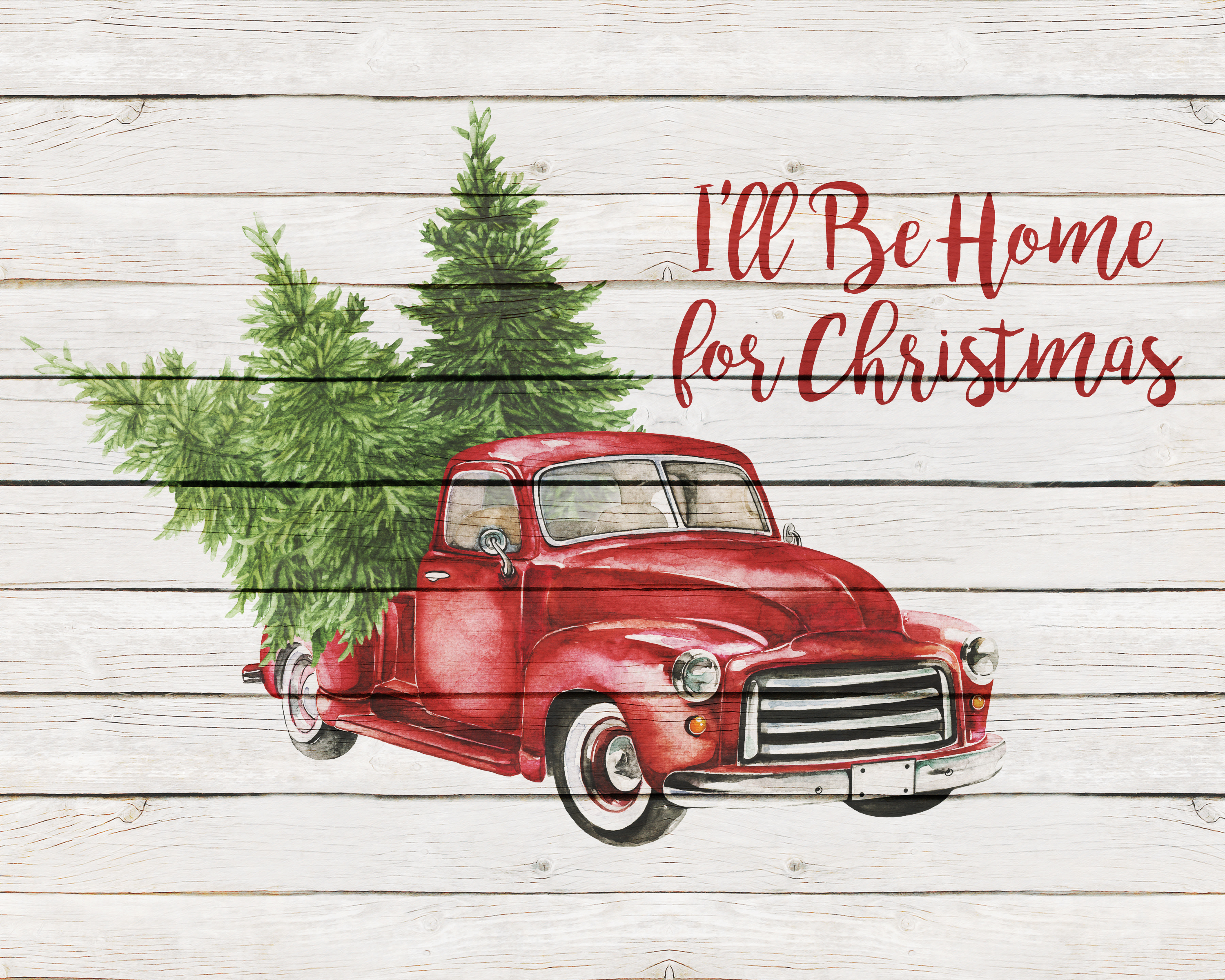Free Printable Farmhouse Christmas Truck Wall Art The Cottage Market