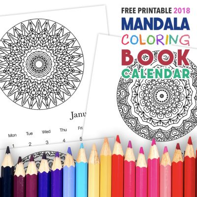Free Printable 2018 Mandala Coloring Book Calendar