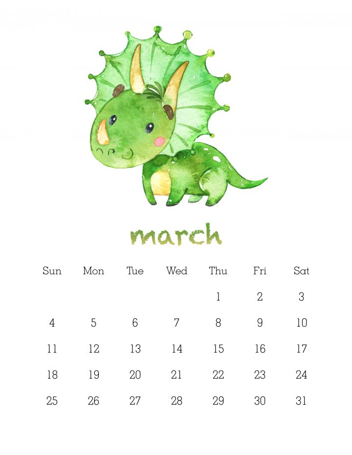 free printable 2018 watercolor dinosaur calendar