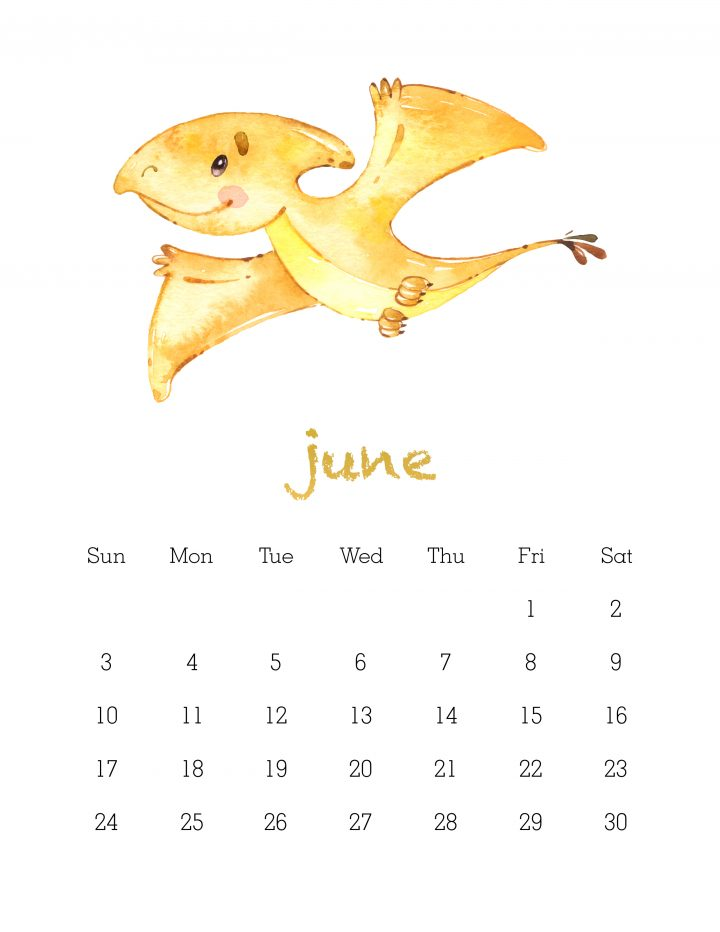 free printable 2018 watercolor dinosaur calendar