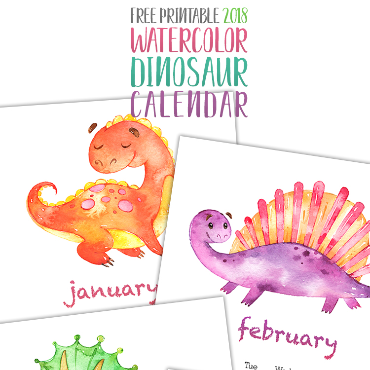 photo regarding Printable Dinosaur named Cost-free Printable 2018 Watercolor Dinosaur Calendar - The