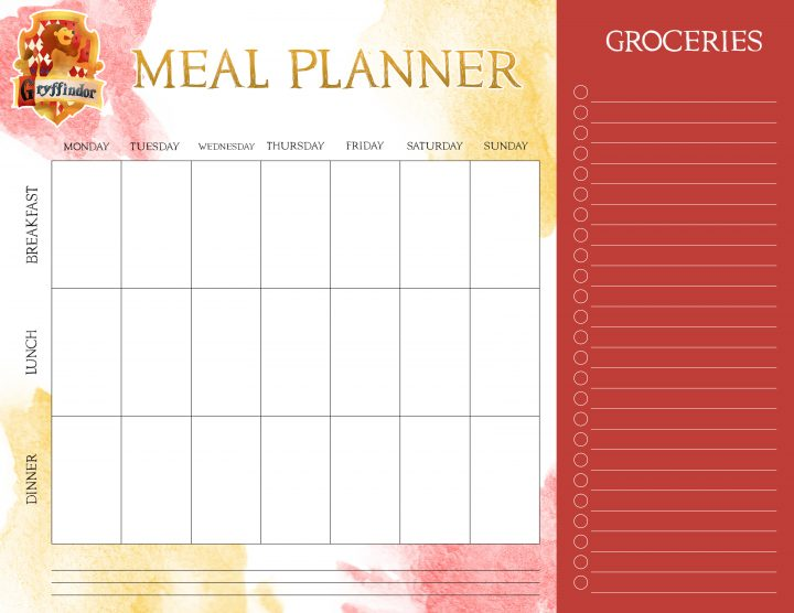 Free Printable Harry Potter Meal Planners - The Cottage Market