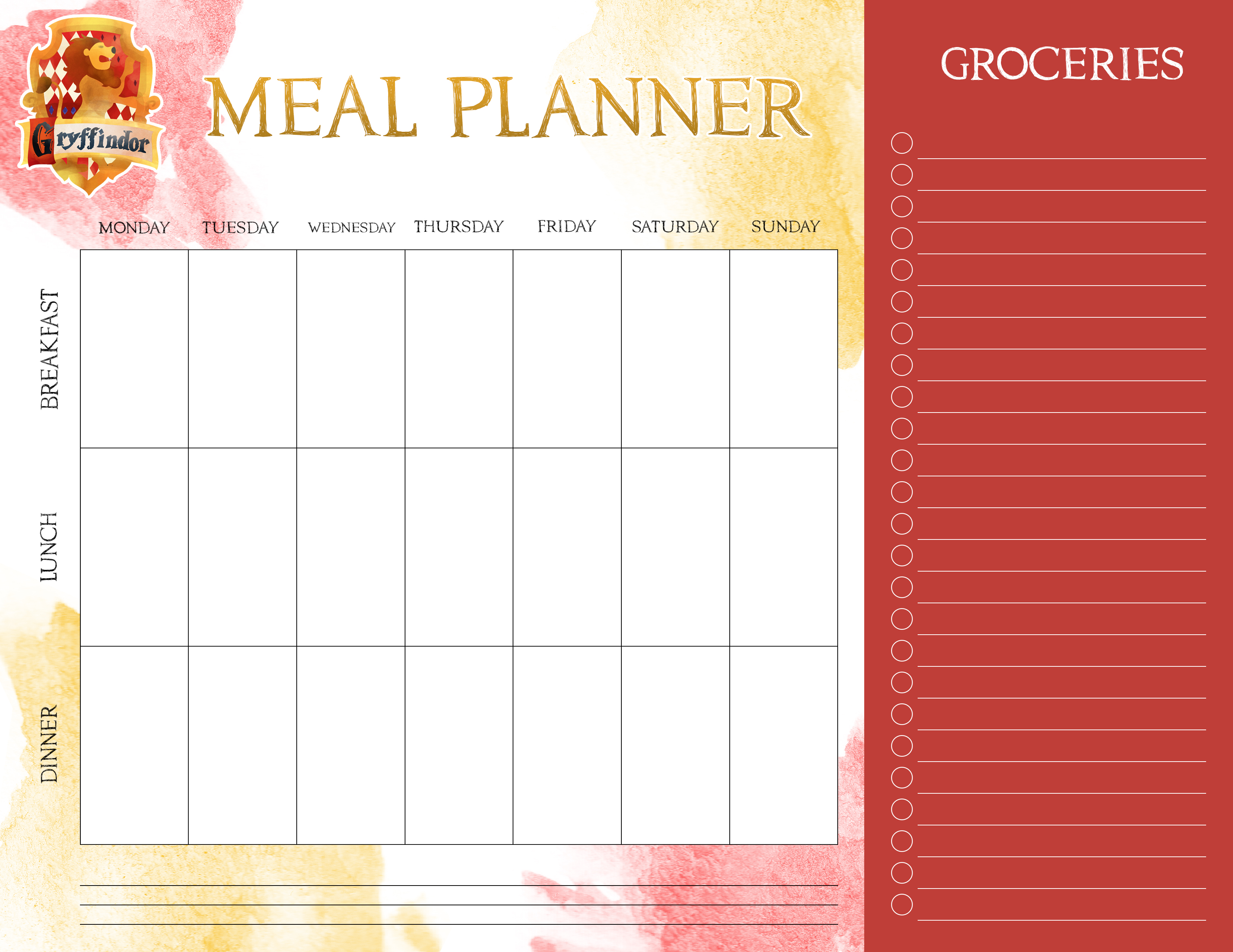 free printable harry potter meal planners the cottage market