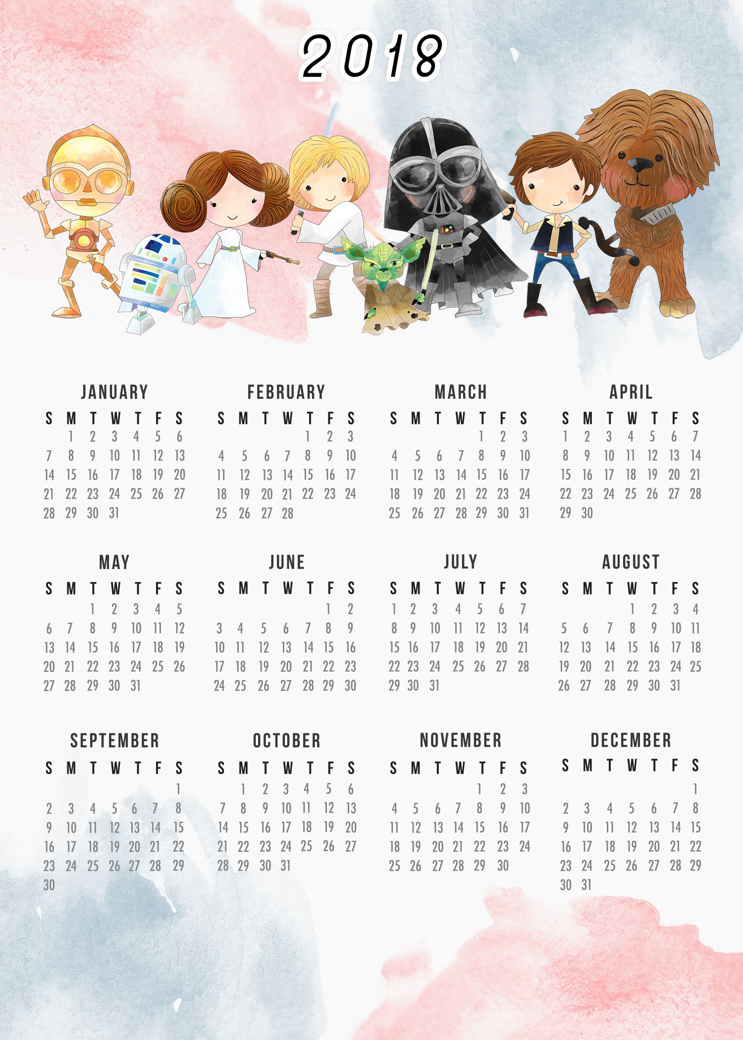 Free Printable 2018 Star Wars Calendar /// One Page /// Original