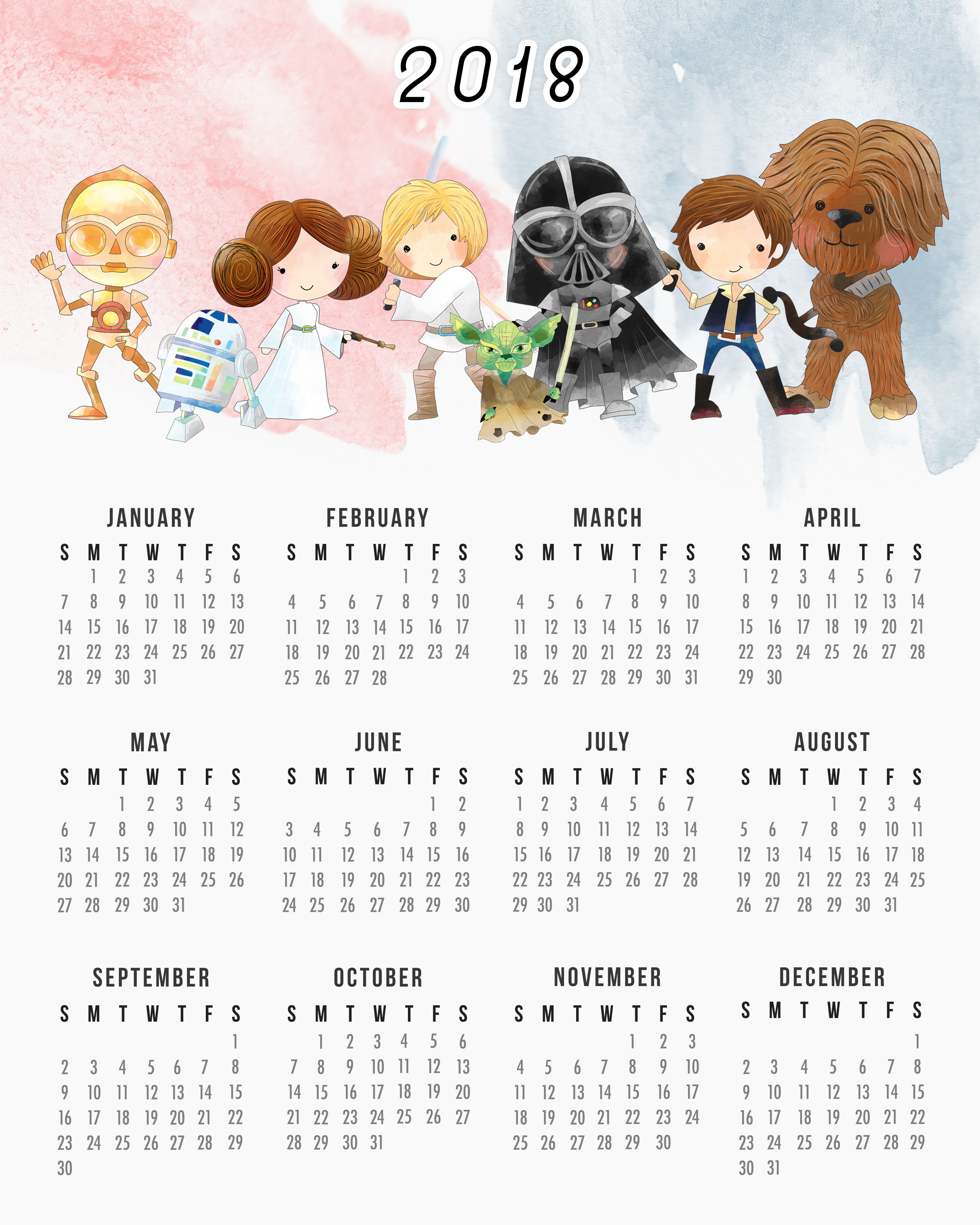 one page 2018 calendars