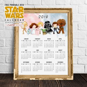 Free Printable 2018 Star Wars Calendar /// One Page /// Original Trilogy