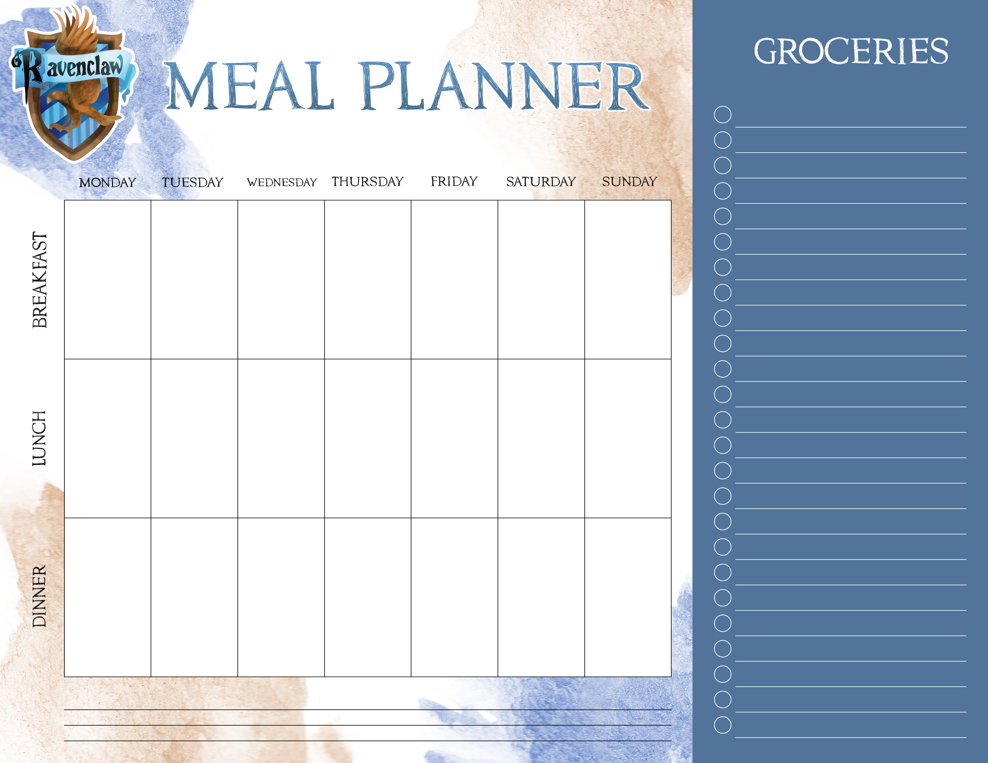 Free Calendar Printables November : Free printable harry potter meal planners the cottage market