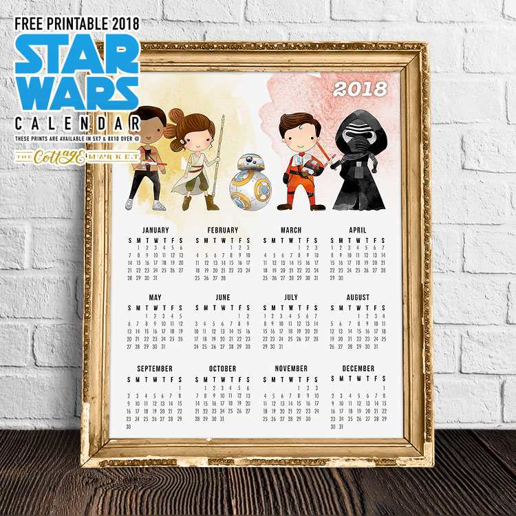 Free Printable 2018 Star Wars Calendar One Page