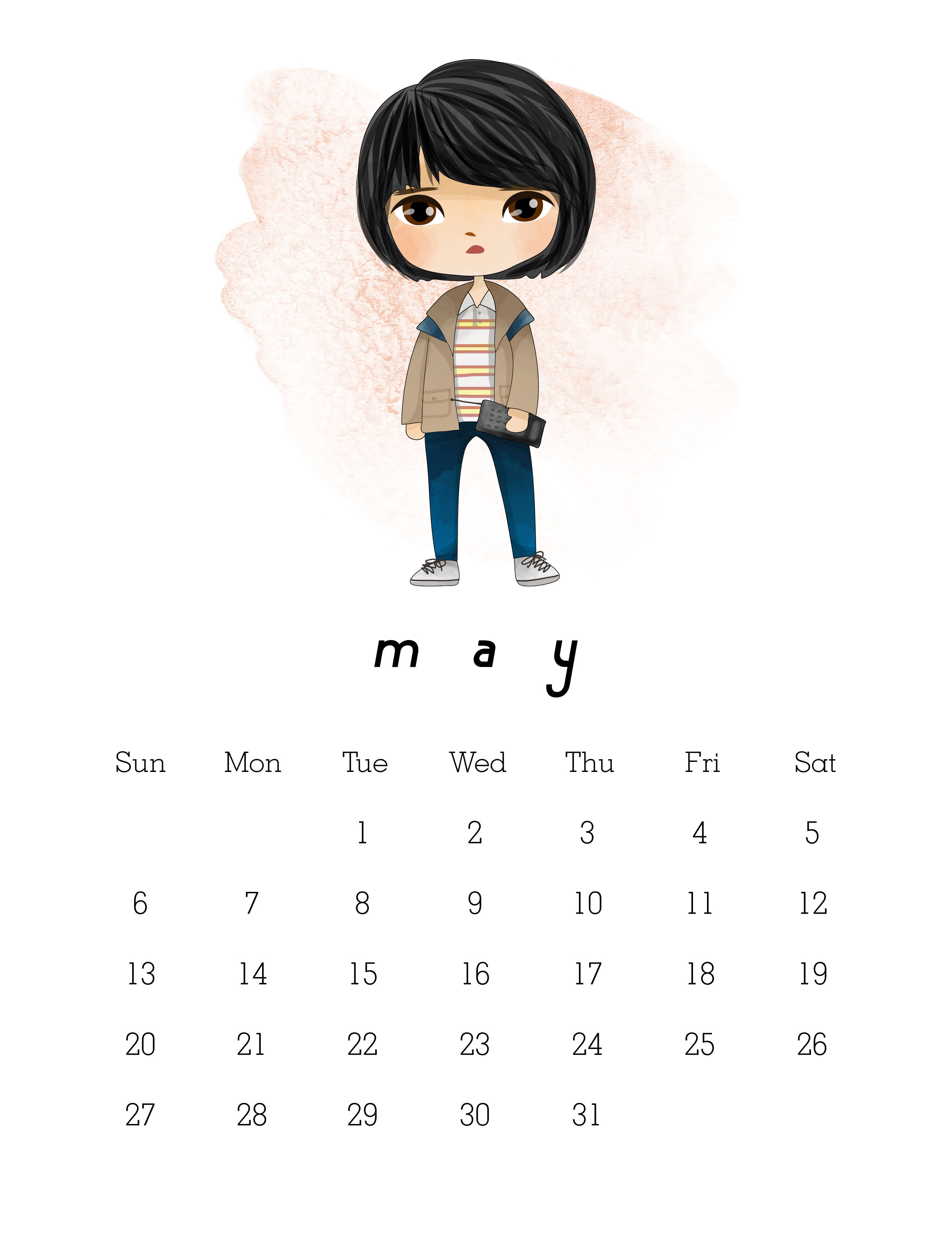 Calendario Stranger Things.Free Printable 2018 Stranger Things Calendar The Cottage