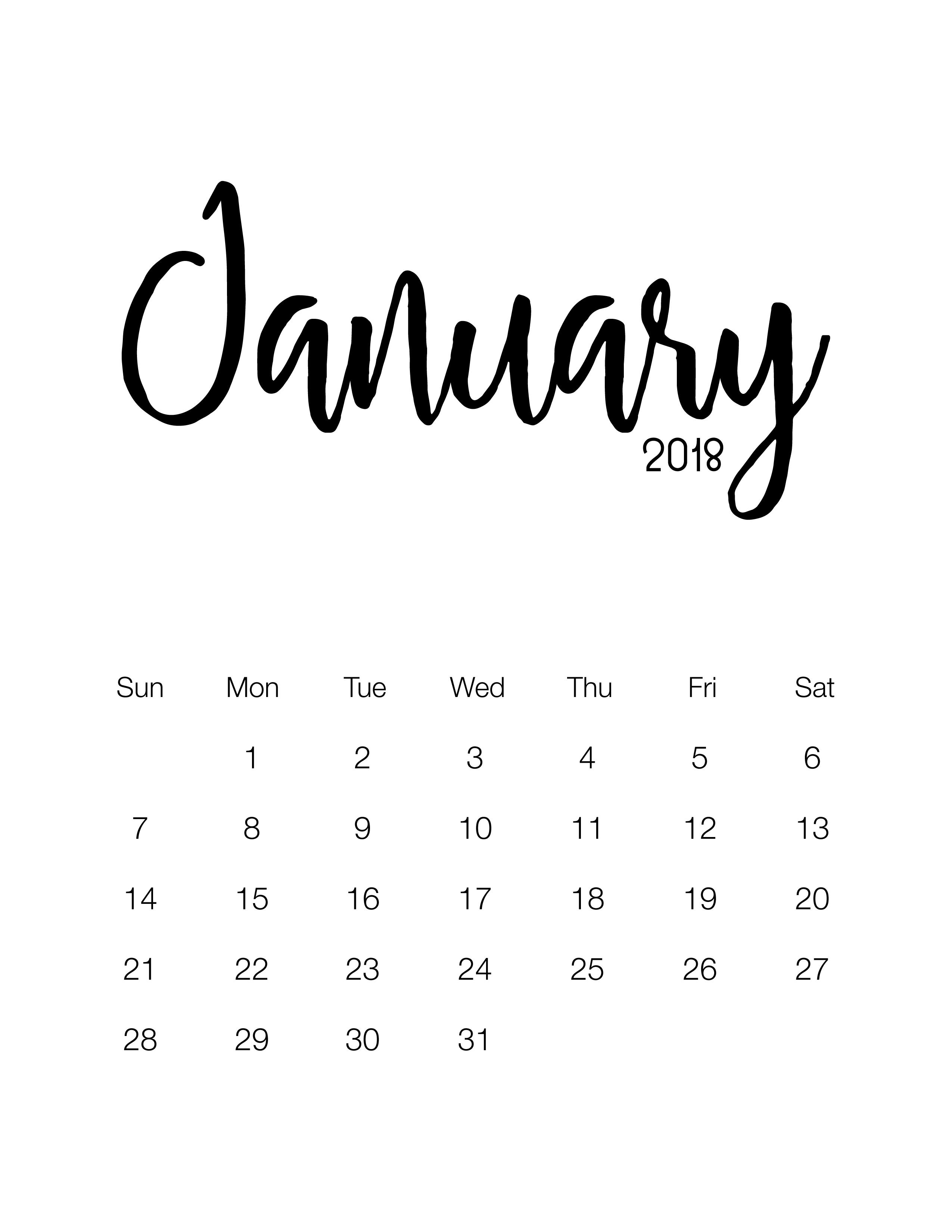 Free Printable 2018 Minimalistic Design Calendar The