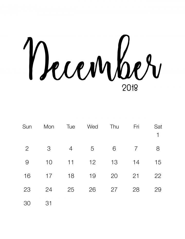 December 2018 - Minimalistic Design Calendar